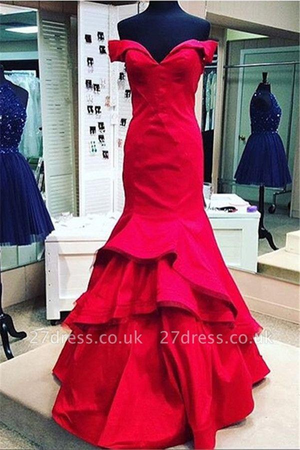 Elegant red Mermaid Prom Dress UK Off the shoulder With Ruffles BK0