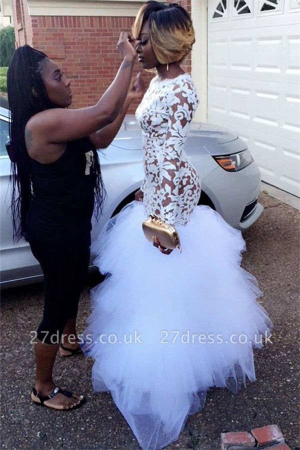 Elegant White Long Sleeve Mermaid Lace Tulle Prom Dress UK
