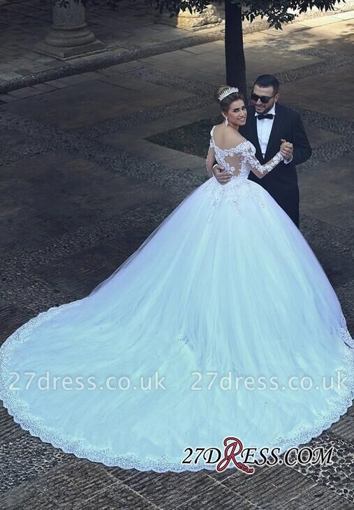 Ball-Gown Tulle Lace Appliques Beadss Elegant Long-Sleeves Wedding Dresses UK