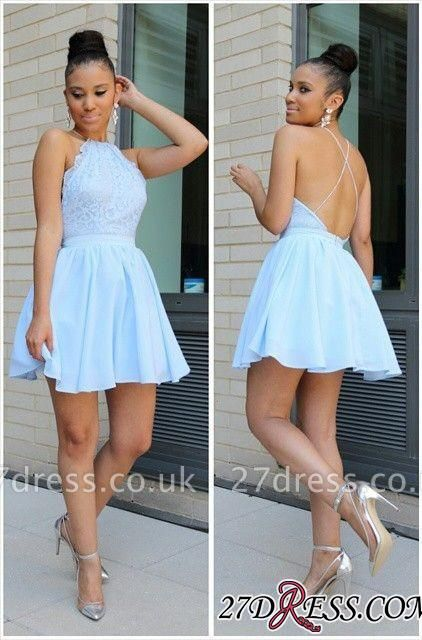 Short Halter Lace Open-Back Sexy Chiffon Blue Lovely Homecoming Dress UKes UK BA3679