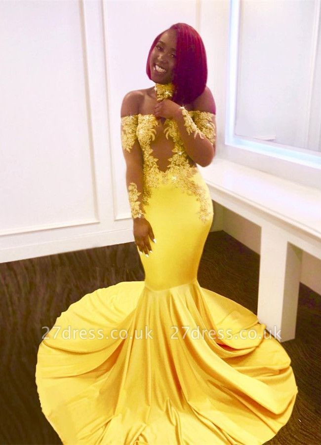 Off-the-shoulder yellow prom Dress UK, mermaid long evening gowns BA7903