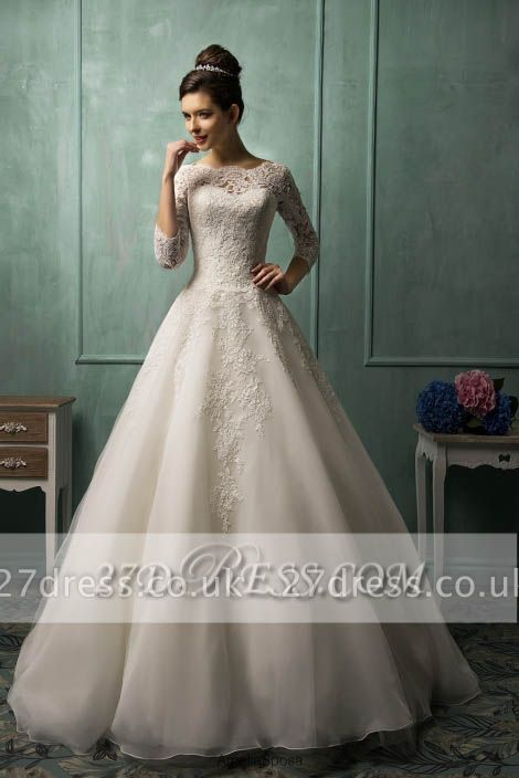Elegant 3/4 Sleeve Lace Appliques Wedding Dresses UK  Bridal Gowns with Bottons