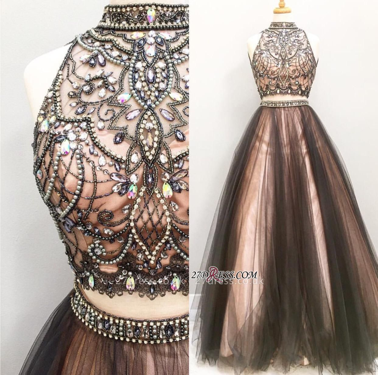 Sleeveless Tulle Crystal Gorgeous Two-Pieces A-Line Prom Dress UK BA4658
