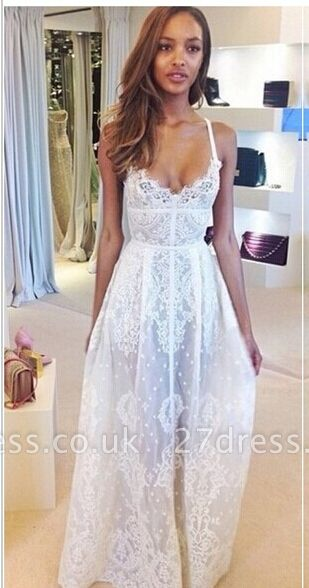 Gorgeous Sleeveless Spaghetti Straps Prom Dress UK With Lace Floor Length Evening Gowns BK0