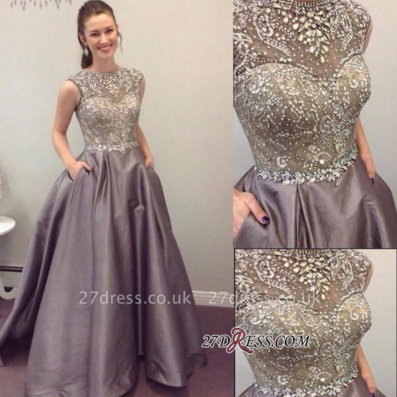Pockets Crystal Sexy A-Line A-Line Sleeveless Prom Dress UK BA4811