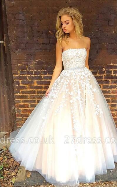 Pretty Strapless Lace Appliques Evening Dress UK Tulle Prom Gowns