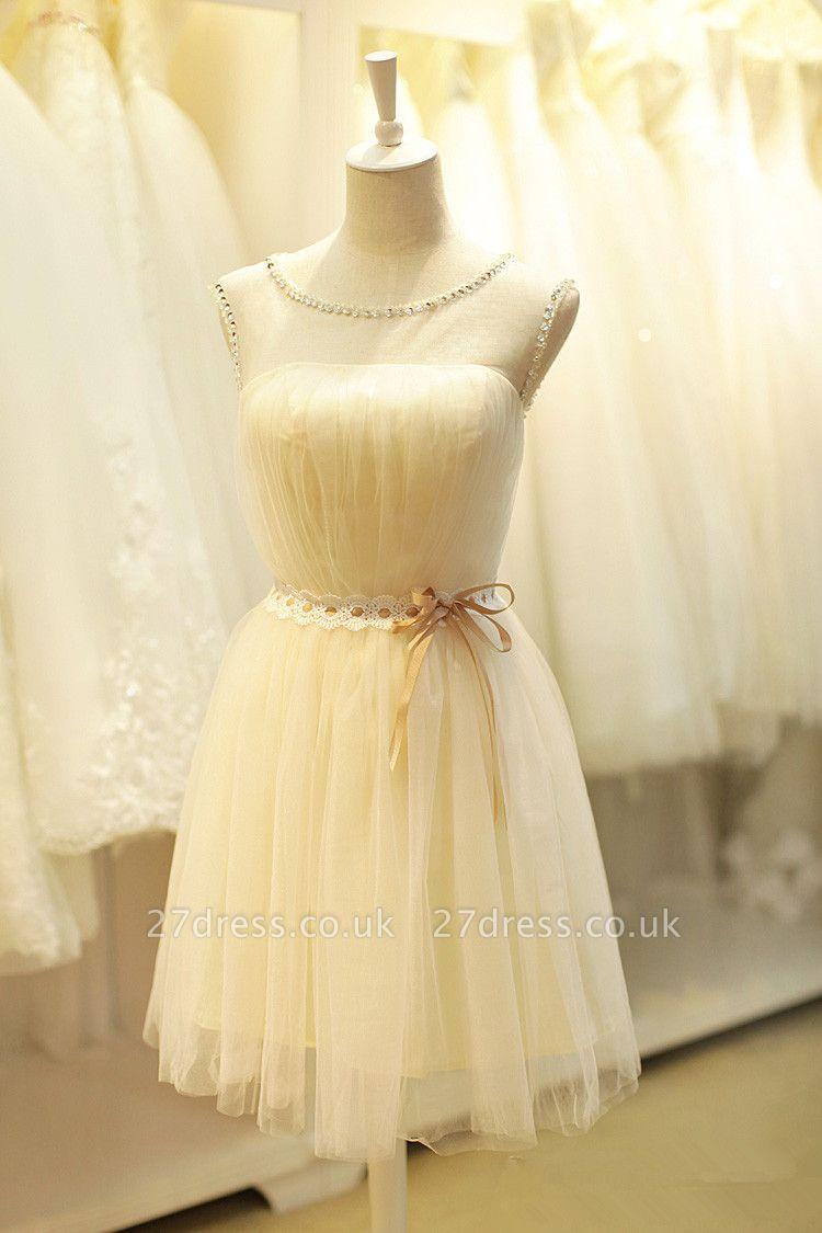 Sexy Jewel Beads Bow Homecoming Dress UK Mini Lace-up