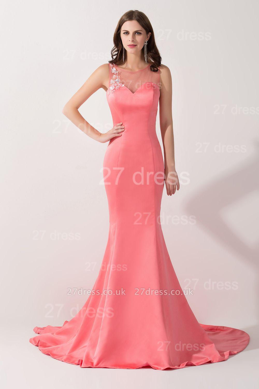 Newest Mermaid Pink Sequins Evening Dress UK Illusion Sweep Train