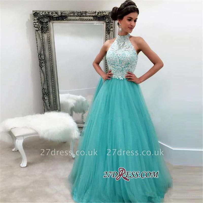 Lace Tulle Sexy Sleeveless High-Neck A-line Evening Dress UK