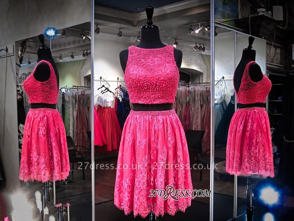Sleeveless Jewel Mini Two-Pieces Beads A-line Newest Homecoming Dress UK