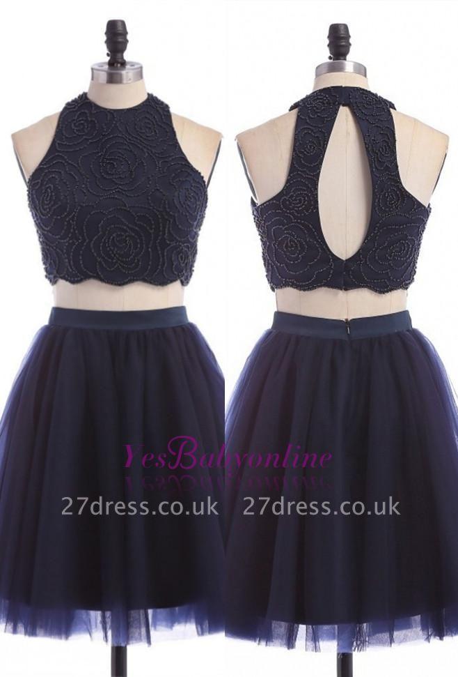 Sleeveless Mini Elegant Two-Piece Zipper Jewel Homecoming Dress UK