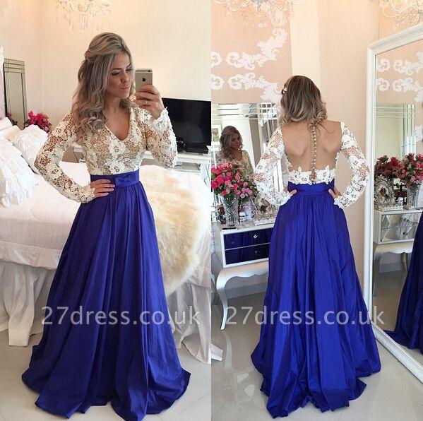 Modern Lace Chiffon Long Sleev Prom Dress UK Zipper Button Back