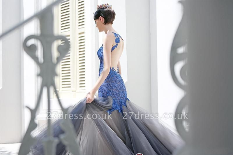 Gorgeous Elegant Mermaid Sleeveless Tulle Appliques Evening Dress UK