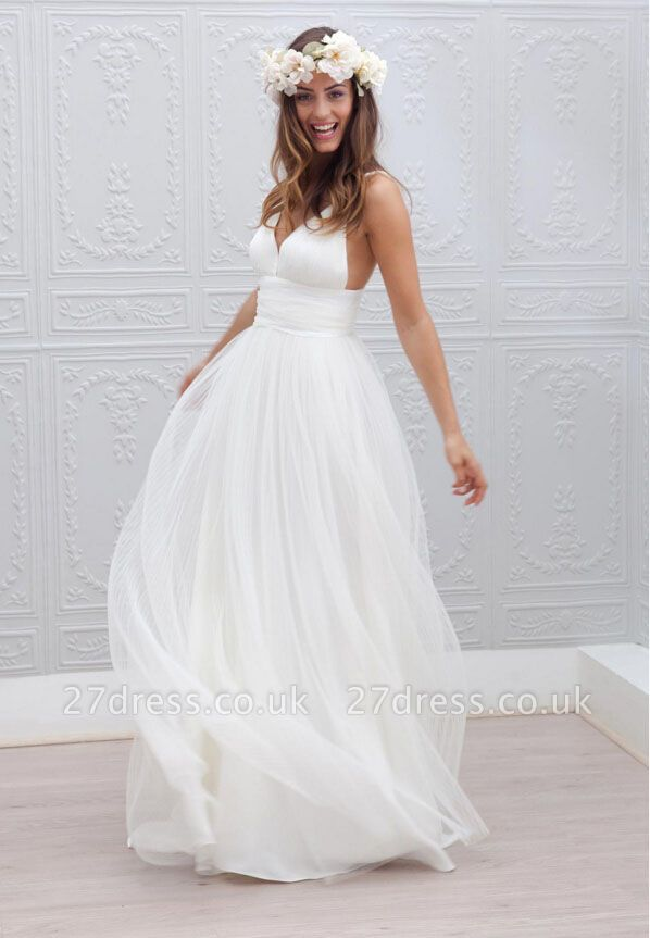 Elegant White Spaghetti Straps Wedding Dress Summer Beach Tulle Floor Length BA3218