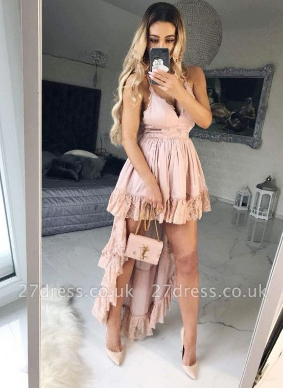Lovely V-Neck Short Homecoming Dress UK   Hi-Lo Pink Mini Dress UK