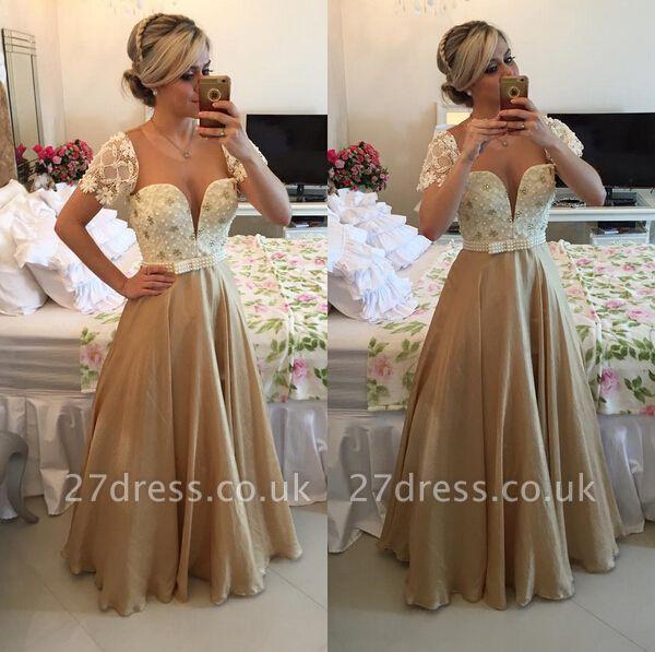 Luxury Sweetheart Cap Sleeve Evening Dress UK Lace Peals Long Chiffon Prom Gowns