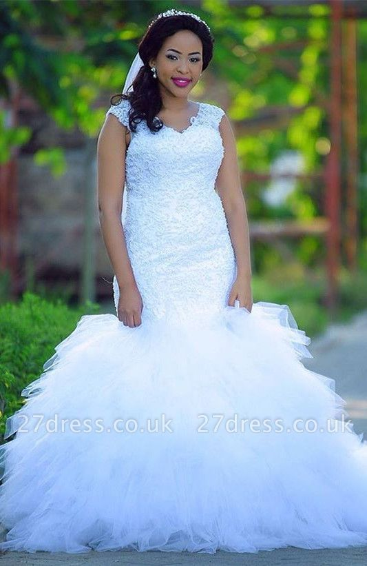 Plus size Sexy Mermaid wedding dress, lace bridal gowns