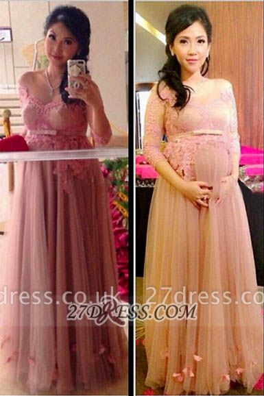 Sexy 3/4-length Sleeve Tulle Maternity Prom Dress UK With Lace Appliques Flowers