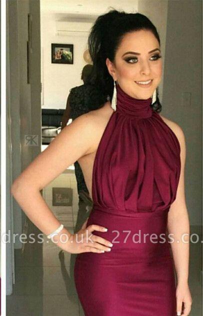 Glitz High-Neck Burgundy Prom Dress UKes UK Mermaid Long Party Gowns