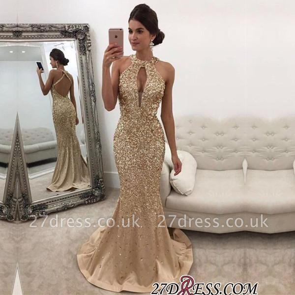 Backless Luxury Mermaid Crystals Halter Sleeveless Prom Dress UK BA5572