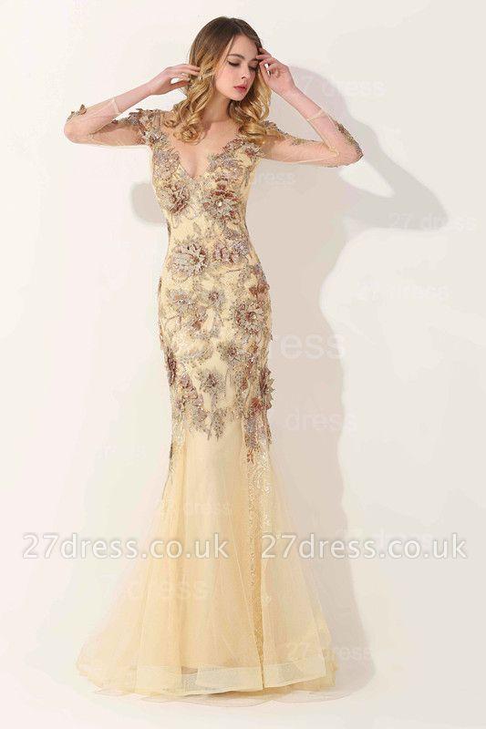 Gorgeous Long Sleeve Evening Dress UK Appliques Tulle Long