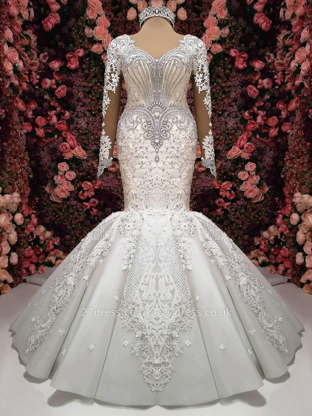 Glamorous Crystals Sexy Mermaid Bridal Gowns Long Sleeves  Wedding Dresses UK