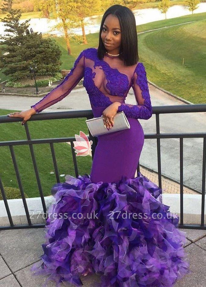 Long sleeve purple prom Dress UK, mermaid ruffles evening gowns BK0
