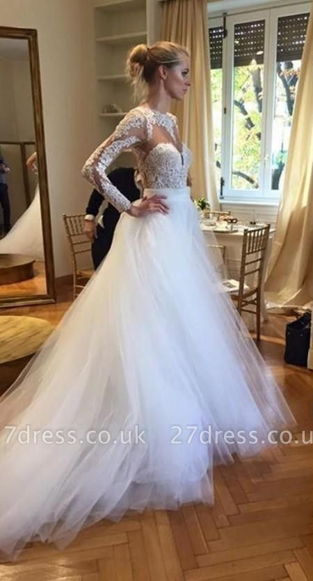 Elegant Long Sleeve Designer Lace Wedding Dresses UK Tulle Lace Bridal Gowns