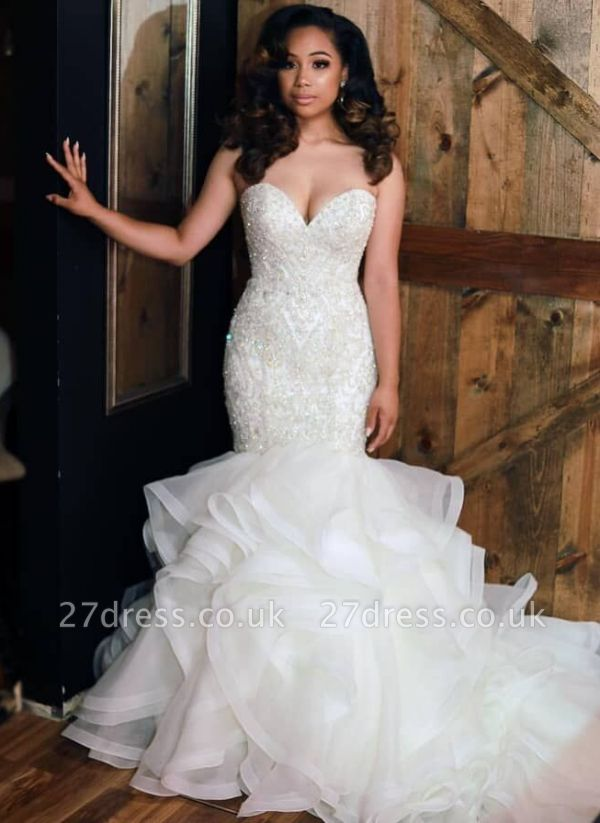 Glamorous Sexy Mermaid Beads Wedding Dresses UK Sweetheart Neck Ruffles Skirt Bridal Gowns