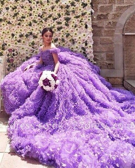 Elegant Purple Off-the-shoulder Wedding Dress Long Train Flowers BAFRW0010