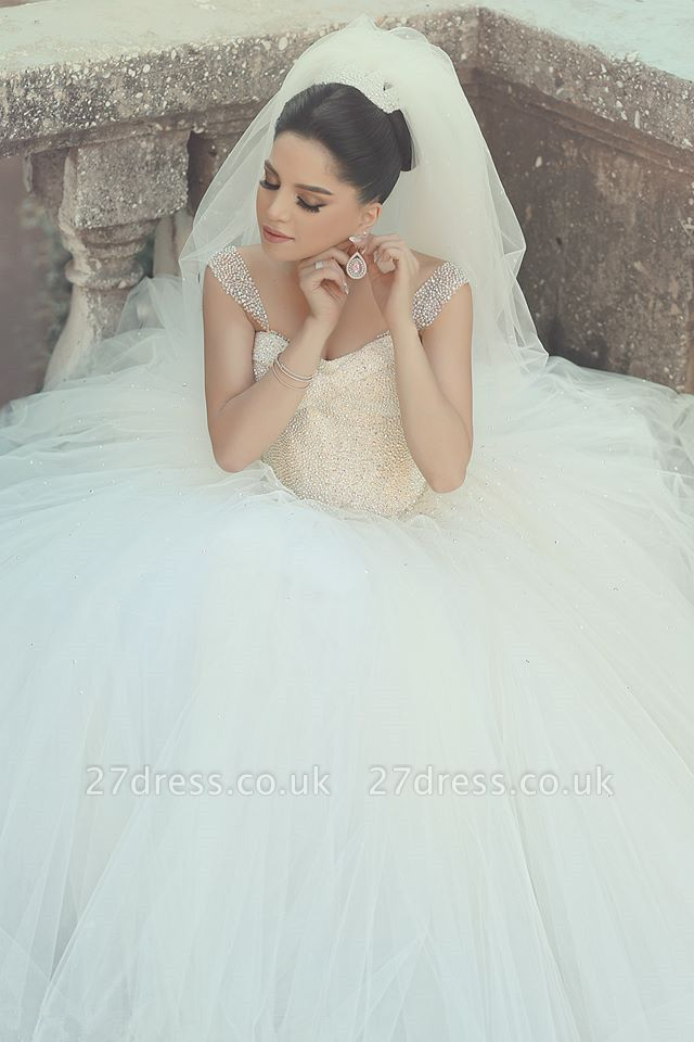 Elegant Off-shoulder Tulle Wedding Dress Ball Gown With Beadss