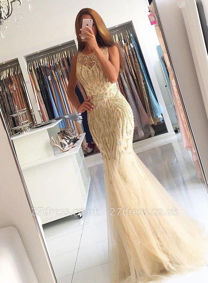Luxury Sleeveless Beadings Mermaid Evening Dress UK On Sale