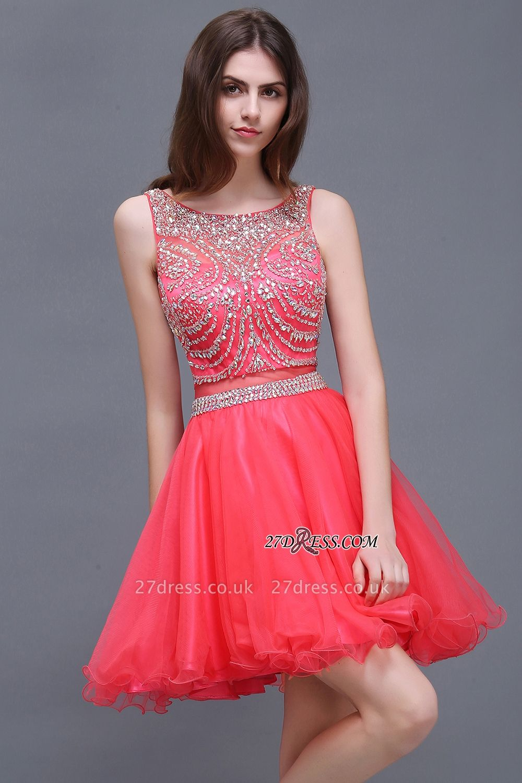 Applique Sleeveless Crystal Beads Cute A-Line Rose Short Evening Dress UKes UK