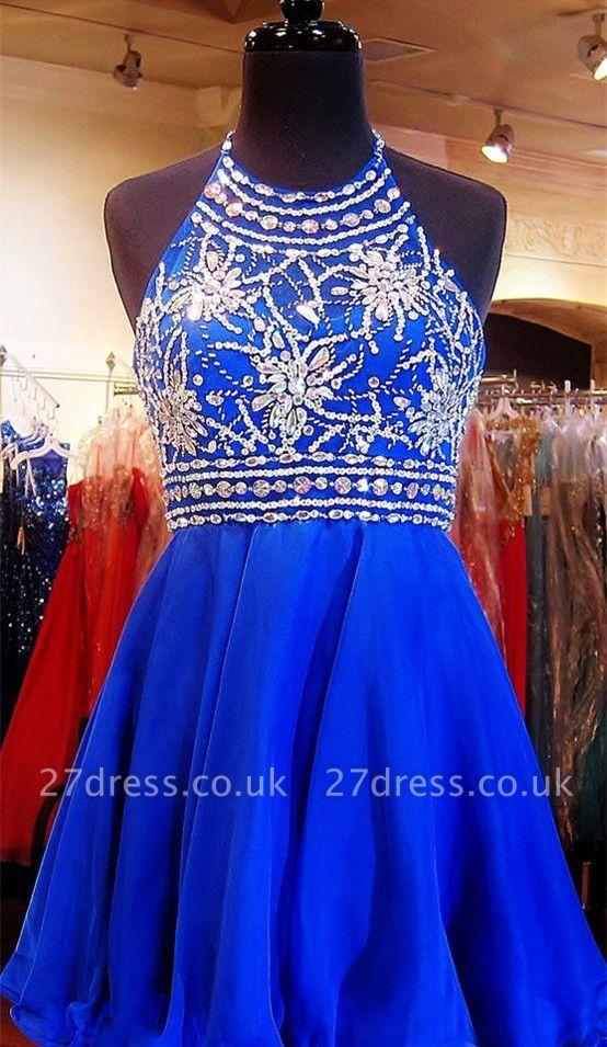 Newest Royal Blue Mini Homecoming Dress UK Crystals Halter Sleeveless