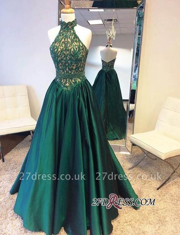 A-Line Green Open-Back Beadings Halter Floor-Length Prom Dress UK BA5240