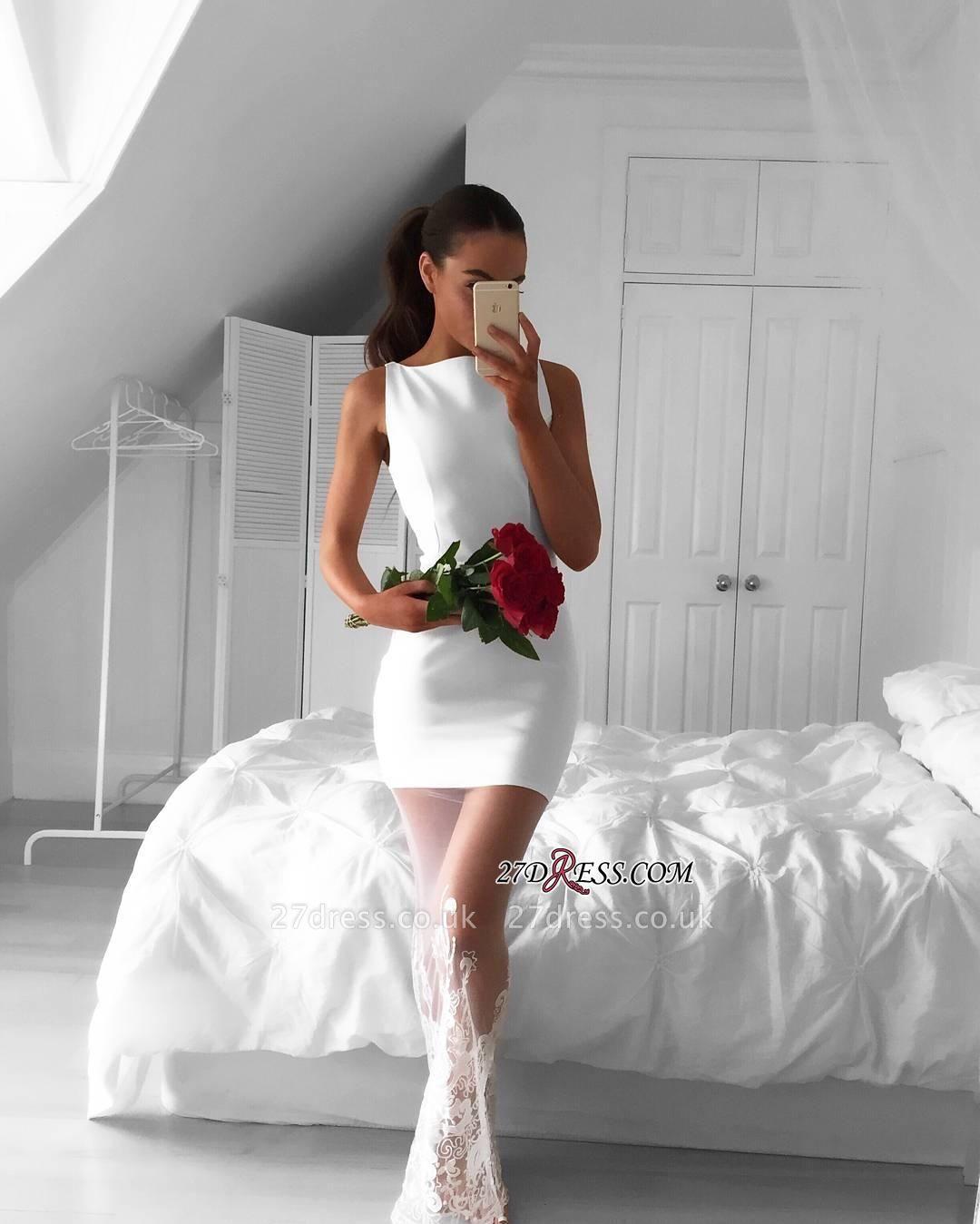 Long Mermaid Sleeveless Newest Jewel Lace White Prom Dress UK