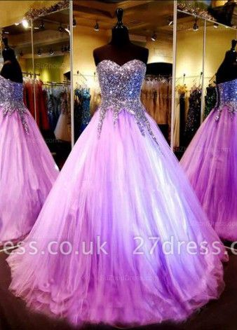 Luxurious Sweetheart Princess Tulle Evening Dress UK Crystals Sequins