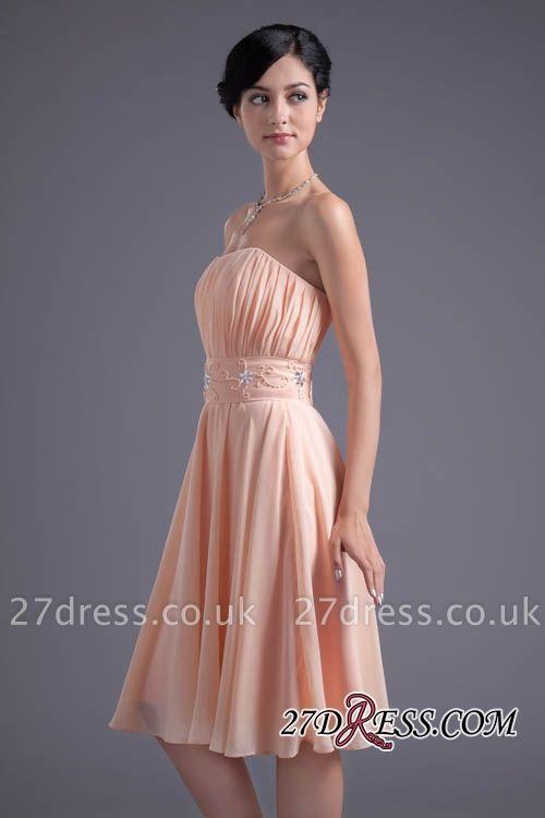 Crystal Chiffon Knee-Length Ruffles A-Line Gorgeous Strapless Bridesmaid Dress UK