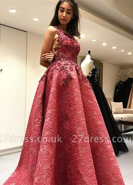Beautiful Sleeveless Lace Appliques Evening Dress UK Long Party Gowns