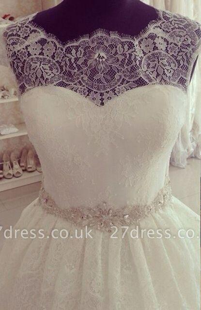 Elegant Lace Fashion Cap Sleeve Princess Wedding Dress With Crystals