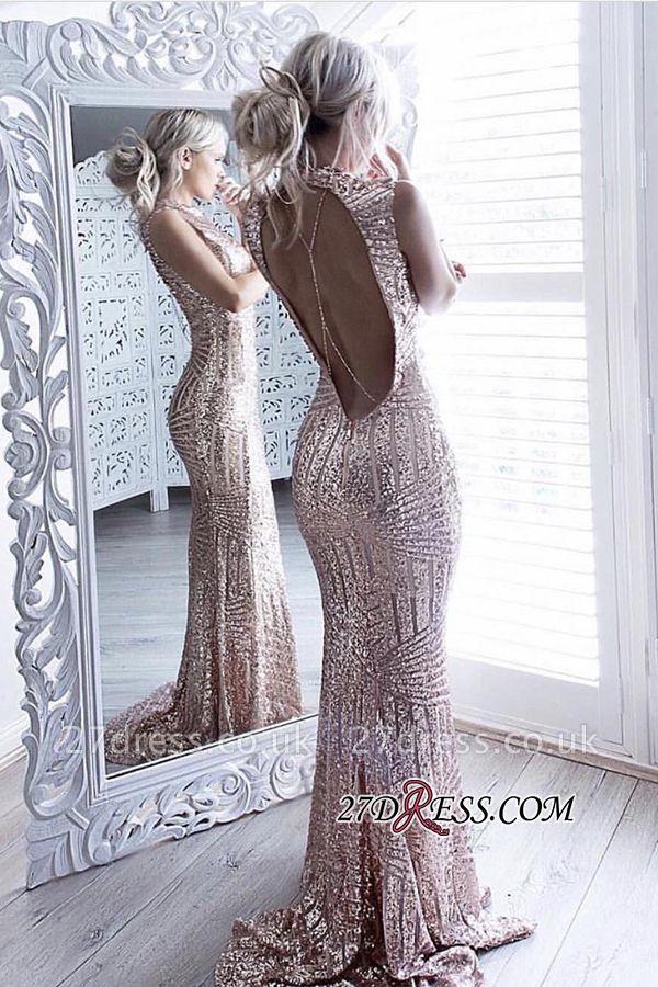 Sheath Sparkling Open-Back High-Neck Sequins Sleeveless Elegant Prom Dress UK JJ0158