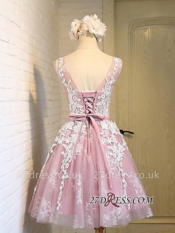 Sleeveless Jewel Pink Lace Open-Back Sash Appliques Lace-Up Sexy Homecoming Dress UKes UK