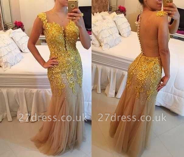 Mermaid Tulle Sheer Elegant Applqiues Beadings Sleeveless Prom Dress UK