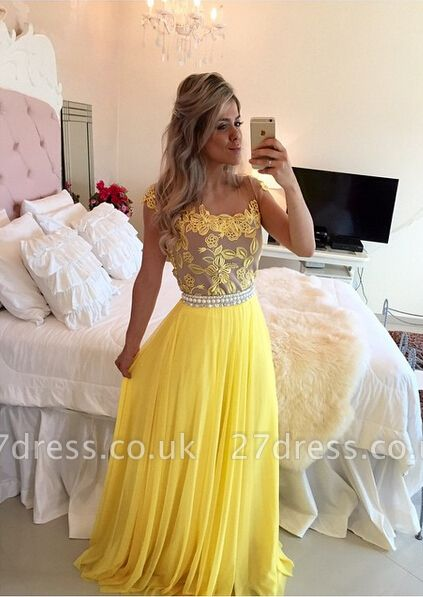 Delicate Yellow Chiffon Pearls Prom Dress UK Lace Appliques BT0