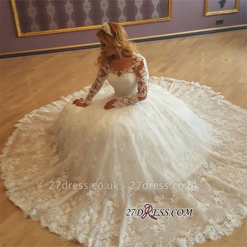Gorgeous Lace Ball-Gown Long-Sleeves Vintage Appliques Wedding Dresses UK