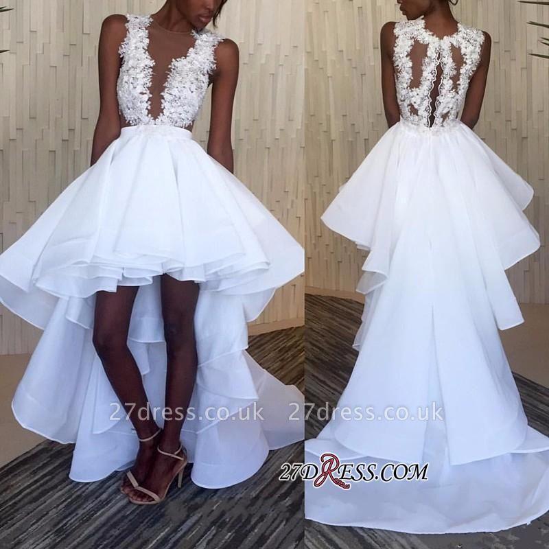 Lace White Appliques Ruffles Sleeveless Hi-Lo Wedding Dress BA3775