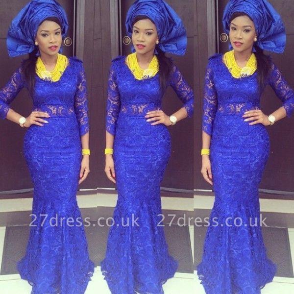 Luxury Royal Blue Lace Mermaid Evening Dress UK Long Sleeve