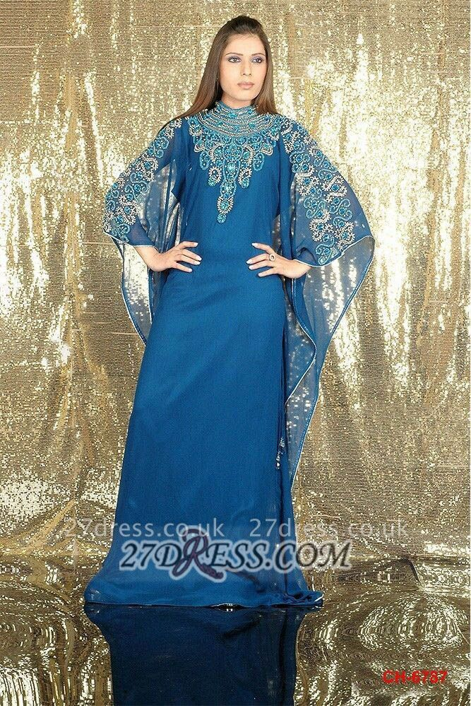Modern High Neck Long Sleeve Arabic Prom Dress UK With Appliques Floor-length