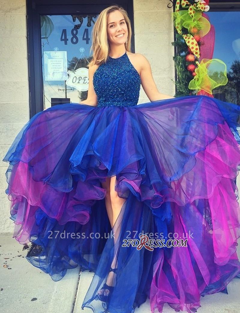 Organza Hi-Lo Beadings Luxury Sleeveless Prom Dress UK