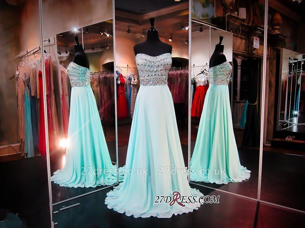 Luxury A-line Sleeveless Strapless Chiffon Crystals Evening Dress UK